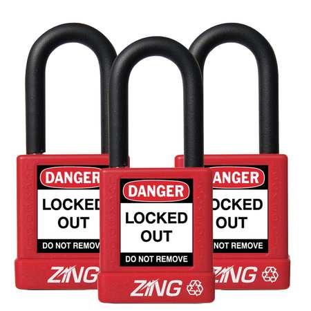 """Lockout Padlock, KA, Red, 1-3/4""""H, PK3"""