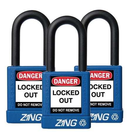 """Lockout Padlock, KA, Blue, 1-3/4""""H, PK3"""