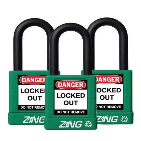 "Lockout Padlock, KA, Green, 1-3/4""H, PK3"