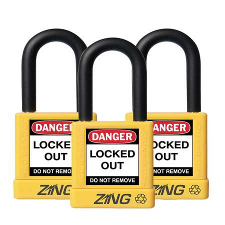 "Lockout Padlock, KA, Yellow, 1-3/4""H, PK3"