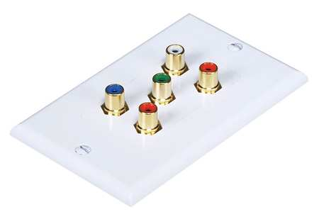 Audio Video Wall Plate, 5 RCA, White