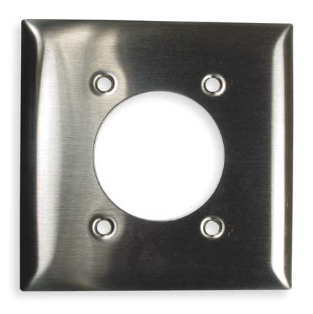 Single Receptacle Plate, 2 Gang, Silver