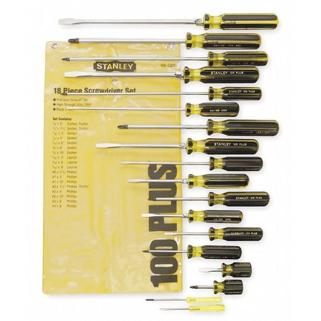 Screwdriver Set, Slotted/Phillips, 18 Pc