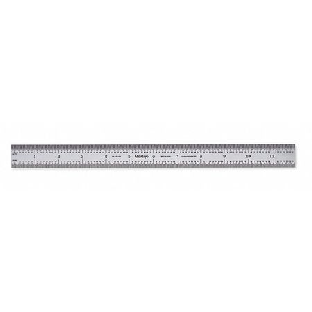 Steel Rule, Rigid, 12 In, 32/64/0.5/1mm