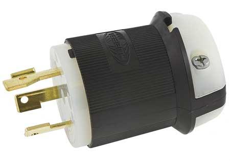 30A Locking Plug 2P 3W 480VAC L8-30P BK/WT