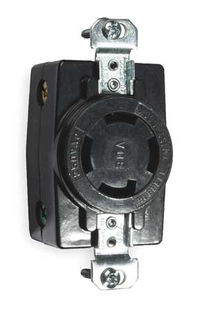 30A Locking Receptacle 3P 4W 250VAC BK