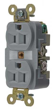 15A Duplex Receptacle 125VAC 5-15R GY