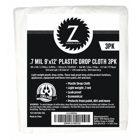 Plastic Dropcloth, 0.7 mL, 9ft.x12ft., PK3