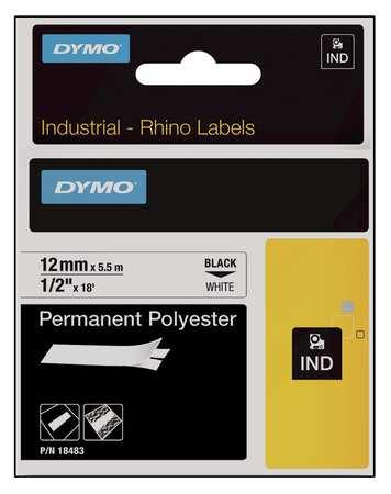 Label Cartridge, 18 ft. L, Black/White