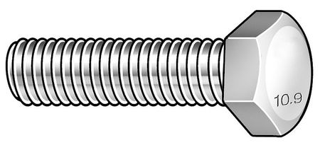 M20-2.50 x 55 mm. Class 10.9 Zinc Yellow Hex Head Cap Screw,  5 pk.