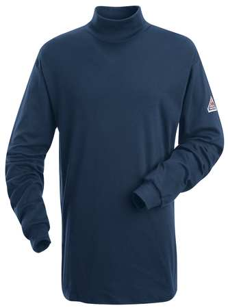 Flame Resistant Mock Turtleneck Shirt,  Navy,  Cotton,  M