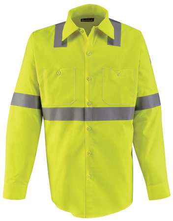 FR Lng Slv Shirt, HiVis Ylw/Grn, XL, Button