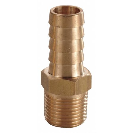 Hose Barb, 1/4 In Barb, 1/4 In MNPT, Brass
