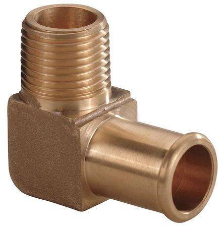 Hose Barb, 1/2 In Barb, 3/8 In MNPT, Brass