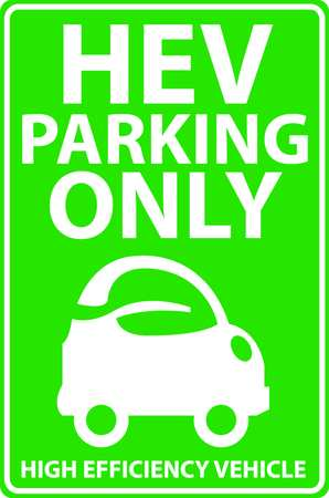 Parking Sign, 18 x 12In, GRN/WHT, Eco Car
