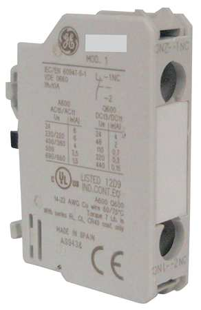Aux Contact Block, 1NO, Standard, Front Mtg