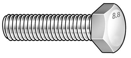 M8-1.00 x 25 mm. Class 8.8 Zinc Plated Hex Head Cap Screw,  50 pk.