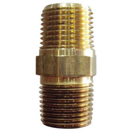 "1/4"" MNPT Brass Hex Nipple 10PK"