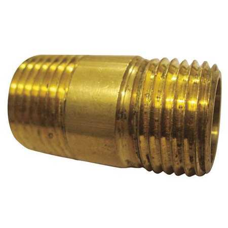 "3/8"" x 2"" MNPT Threaded Brass Long Pipe Nipple 10PK"