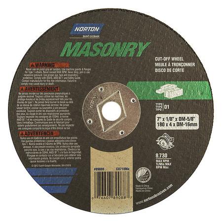 "CutOff Whl, Norton Masonry, 7""x.125""x5/8"""