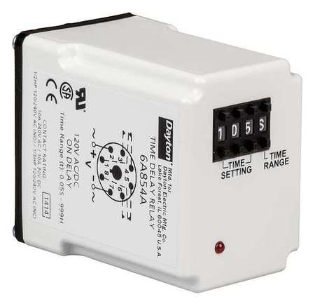 Time Delay Relay, 120VAC/DC, 10A, DPDT, LED