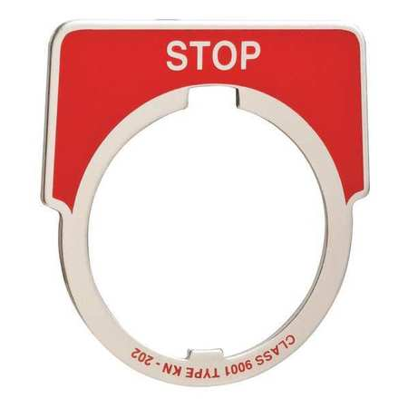 Legend Plate, Half Round, Stop, White/Red