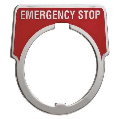 Legend Plate, Emergency Stop, White/Red