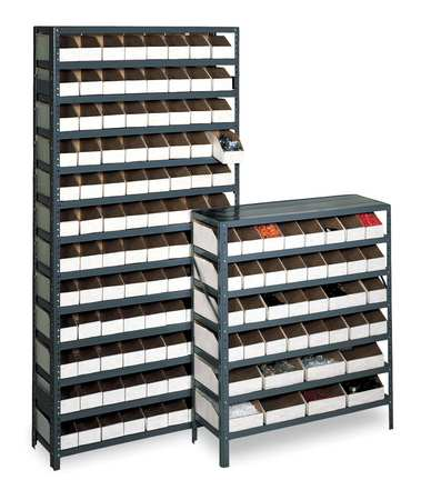 Bin Shelving, Solid, 36X18, 80 Bins, White