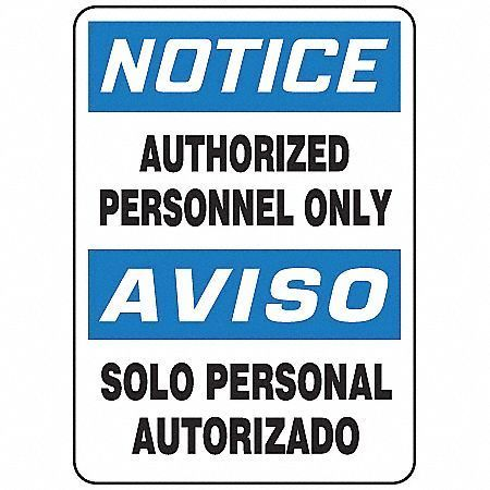 Authorized Personnel Only - Bilingual Signs