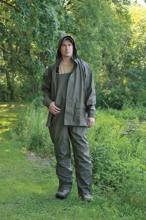 Rain Jacket with Hood, Green, L