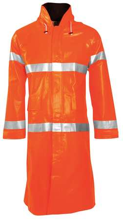 Arc Flash Rain Coat W/Hd, L, HiVis Orng