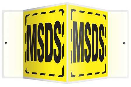8PMD7 Wall Sign, Acrylic, 8x18 In, MSDS