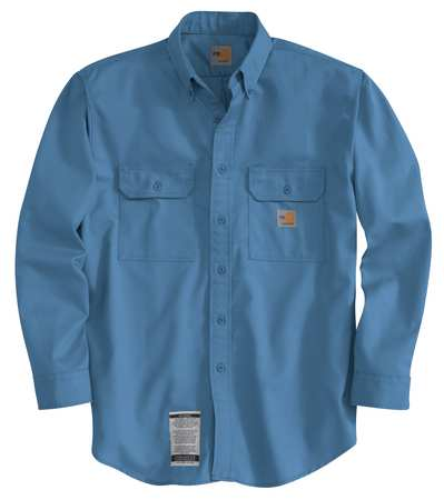 Carhartt Flame Resistant Collared Shirt,  Blue,  Cotton/Nylon,  S