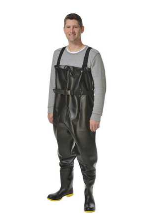 Chest Waders, Steel Toe, Mens, 13, Black, PR
