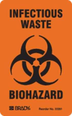 Brady Hazardous Warning Label Pk100 22351ls Zoro