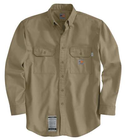 Carhartt Flame Resistant Collared Shirt,  Khaki,  Cotton/Nylon,  M