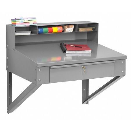 "Wall Hanging Desk tennsco wall hanging desk, 17-1/2""h x 34-1/2""w sr-59 med gray"