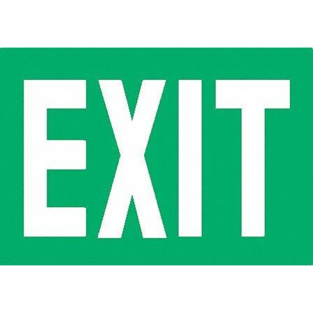 Exit Sign, 7-3/8 x 12In, Glow/GRN, Exit, ENG