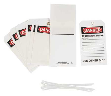 Danger Tag, 7 x 4 In, Bk and R/Wht, PK10