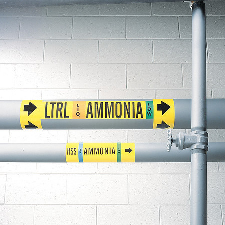 Ammonia Pipe Marker, HTRS, 1 to 2-1/2In