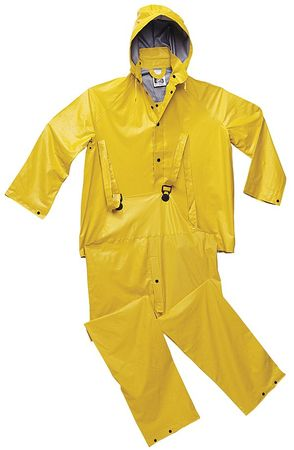 3-Pc. Rainsuit w/Detach Hood, Ylw, 2XL