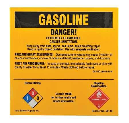 Chemical Label, 5 In. W, 5 In. H, PK25