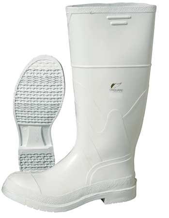 "Knee Boots, Size 10, 16"" H, White, Plain, PR"