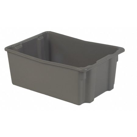 Stack and Nest Bin, 26-1/8 In L, Gray