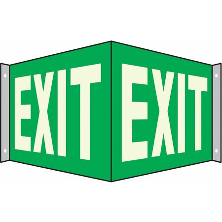 Exit Sign, 7 x 20In, WHT/GRN, Exit, ENG, Text