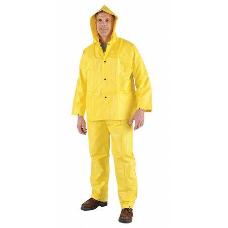 3 Pc. Rainsuit w/Detach Hood, Ylw, L