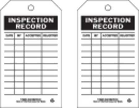 Inspection Rcd Tag, 7 x 4 In, Bk/Wht, PK10