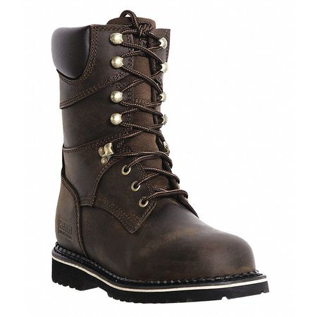 Work Boots, Pln, Mens, 12W, Dark Brown, PR