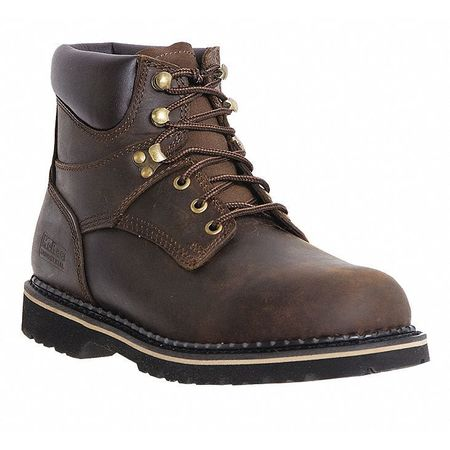 Work Boots, Pln, Mens, 9-1/2, Brown, PR