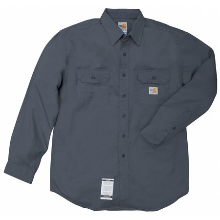 Carhartt Flame Resistant Collared Shirt,  Navy,  Cotton/Nylon,  L